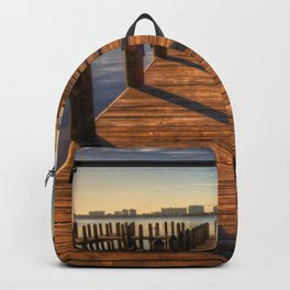 Sunset Over Pier In Harbor Ultra HD Backpack