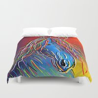 horse Duvet Covers featuring horse  by mark ashkenazi