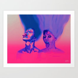 Tongues Out | Powerful Women, Pink Purple Surreal Low Brow Digital Painting  Art Print