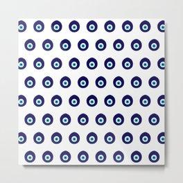 Turkish Blue Eye Bead Pattern Metal Print