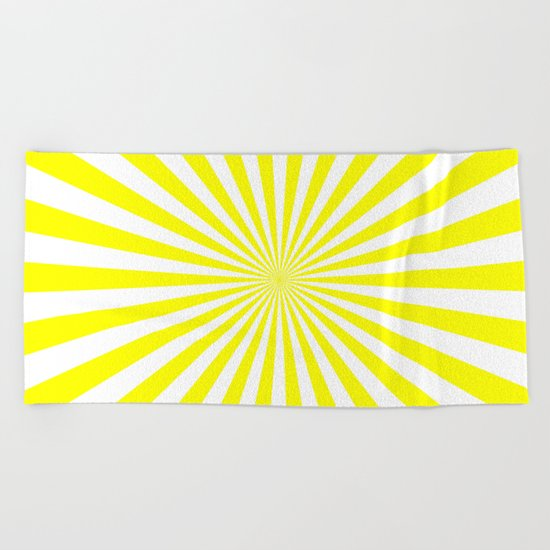 Starburst (Yellow/White) Beach Towel