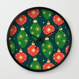 Vintage Festive Hand-painted Christmas Tree Ornaments with Beautiful Acrylic Texture on Dark Teal Color Wall Clock