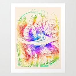 Psychedelic Alice in Wonderland Smoking Caterpillar Art Print