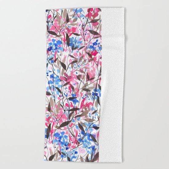 Wandering Wildflowers Pink  Beach Towel