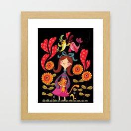 Girl with sunflowers_black Framed Art Print