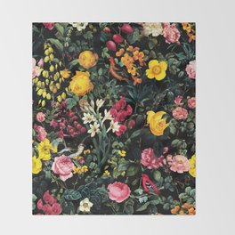Floral and Birds Pattern Throw Blanket