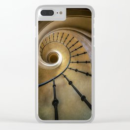 Golden spiral staircase Clear iPhone Case