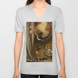 Cute steampunk giraffe with clocks and gears Unisex V-Neck