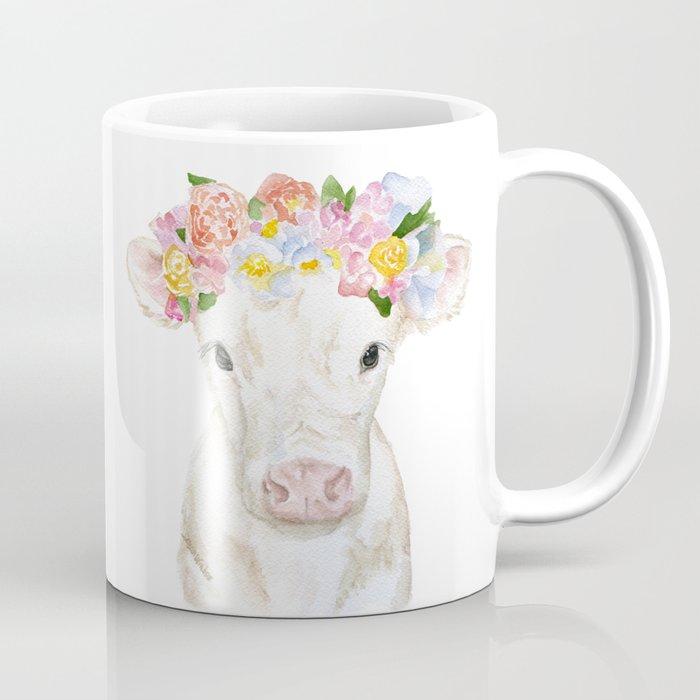 White Calf with Floral Crown Coffee Mug