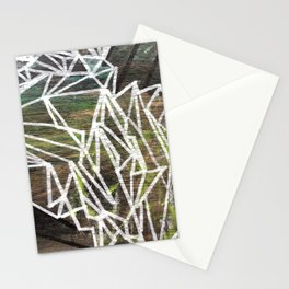 Geometric Lines on Wood Stationery Cards