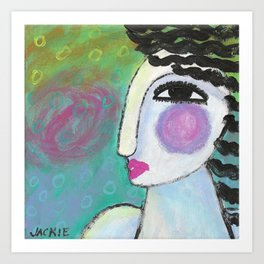 Funky Abstract Portrait of a Woman Art Print