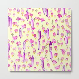 Crystals And Flowers Pattern Metal Print