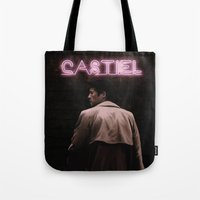 castiel Tote Bags featuring CASTIEL by mycolour