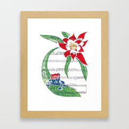 Coqui   (South American Poison Dart Frog with flower on sheet music) Framed Art Print