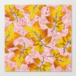 Pink Paisley Autumn Leaves Canvas Print