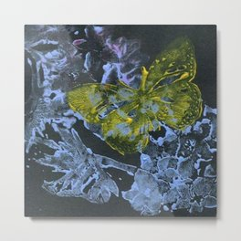 Blue and Yellow Butterfly Metal Print