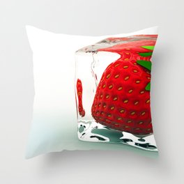 Strawberry on ice Throw Pillow