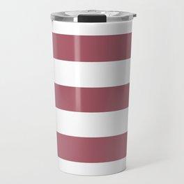 Deep puce - solid color - white stripes pattern Travel Mug