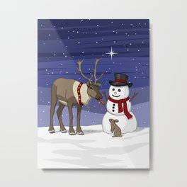 Santa's Reindeer Giving Snowman's Carrot Nose To Bunny Metal Print
