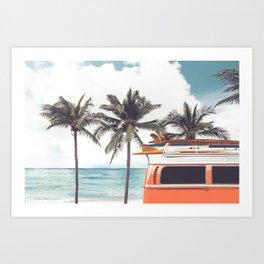 Red surf van Art Print
