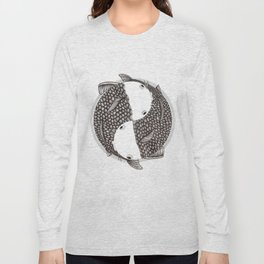 Pisces - Fish Koi - Japanese Tattoo Style (black and white) Long Sleeve T-shirt