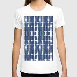 Shibori Stripes 3 Indigo Blue T-shirt