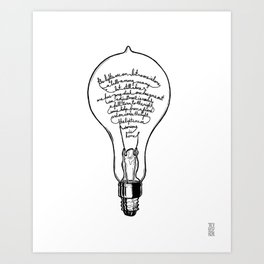 "Ode to the Bulb - ""lights are on"" Art Print"