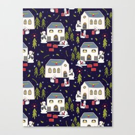 Christmas Cats Village Festive Seamless Vector Pattern, Drawn Present Boxes Canvas Print