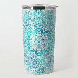 Turquoise Lace Mandala Travel Mug