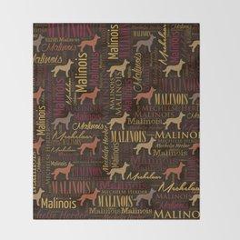 Belgian Malinois Dog Word Art pattern Throw Blanket