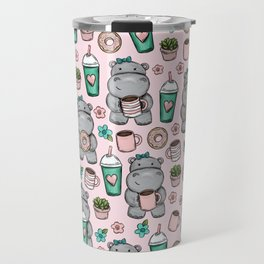 Cute Little Hippo, Hippopotamus, Donuts and Coffee, Pink Print For Girls, Little Girls, Tween Girls Travel Mug