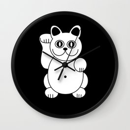 White Cat For Good Luck Wall Clock