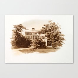 Vintage Sketched House in Sepia Canvas Print