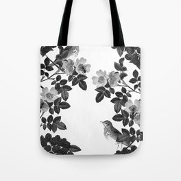 Birds and the Bees Black and White Tote Bag