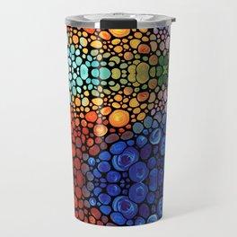 Abstract 1 - Beautiful Colorful Mosaic Art by Sharon Cummings Travel Mug