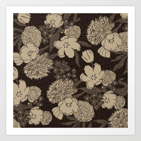 Sketchy Floral: Brown Cream Art Print