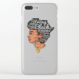 Melanin Afro Motivation Woman Clear iPhone Case