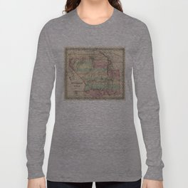 Vintage Map of New Mexico and Utah (1857) Long Sleeve T-shirt