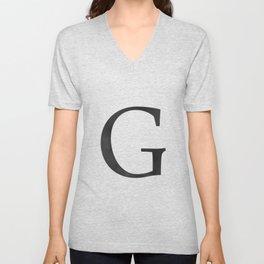 Letter G Initial Monogram Black and White Unisex V-Neck