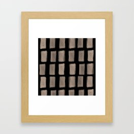 Brush Strokes Vertical Lines Nude on Black Framed Art Print