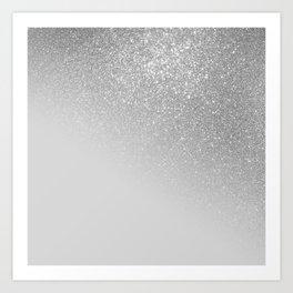Diagonal Gray Silver Glitter Gradient Ombre Art Print