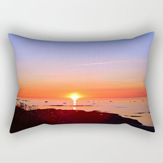 Kayak Silhouette at Sunset Rectangular Pillow