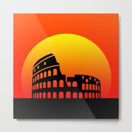 Sunset and colosseum in a red sky Metal Print
