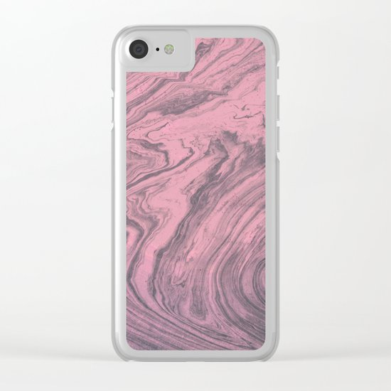 Pink Marbled Texture Clear iPhone Case