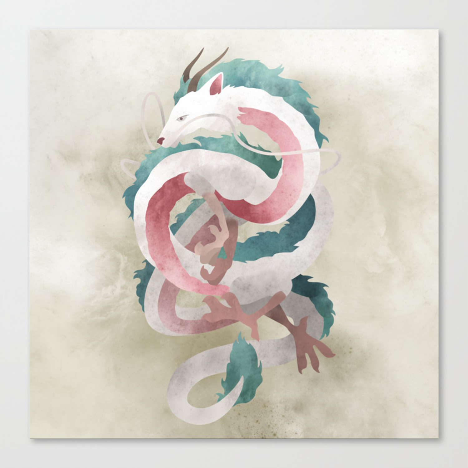 Spirited Away Haku Dragon Illustration Miyazaki Studio Ghibli Canvas Print By Lizasou Society6