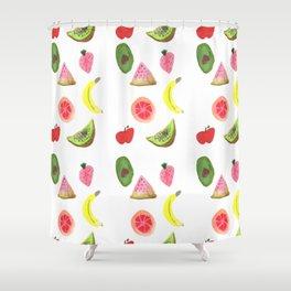 Tropical Fruit Watercolor Shower Curtain