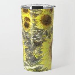 Sunflower Fields Of Summer Watercolour Travel Mug