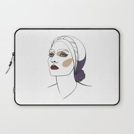 Woman in headscarf with smoky eyes. Abstract face. Fashion illustration Laptop Sleeve