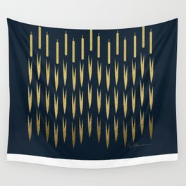 Navy Cattail Wall Tapestry