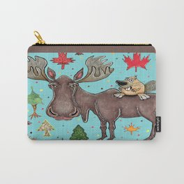 Canada Canadian wildlife, moose and beaver Carry-All Pouch